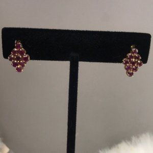 Beautiful Solid 14k Yellow Gold Ruby Earrings